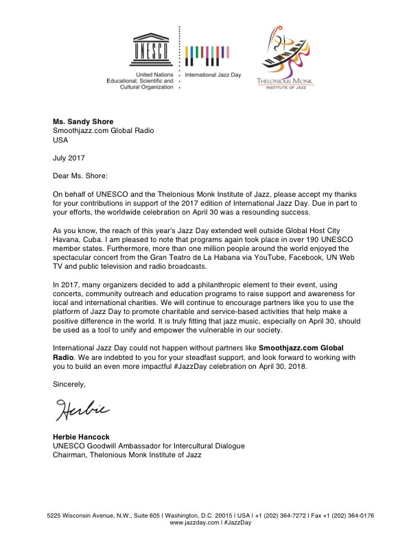 UNESCO International Jazz Day Letter