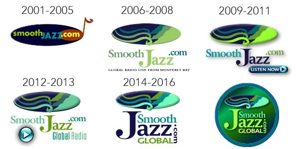A history of SmoothJazz.com Logos 2001-2017